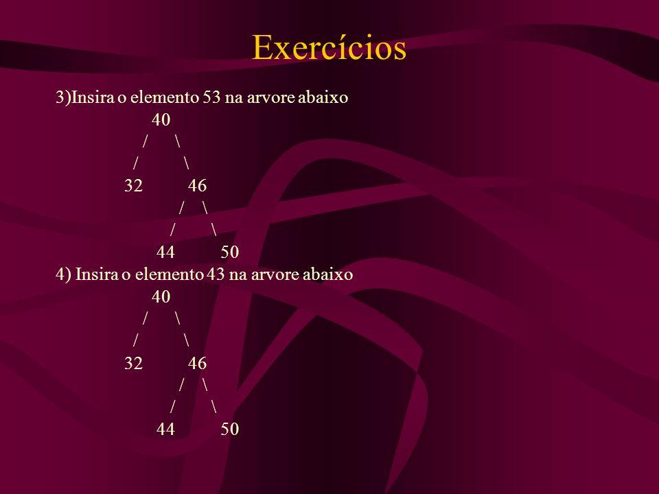 Exercícios 3)Insira o elemento 53 na arvore abaixo 40 / \ / \ 32 46
