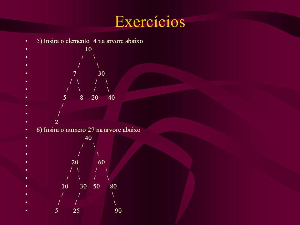 Exercícios 5) Insira o elemento 4 na arvore abaixo 10 / \ / \ 7 30