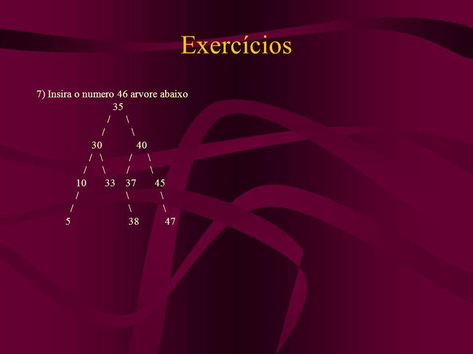 Exercícios 7) Insira o numero 46 arvore abaixo 35 / \ / \ 30 40