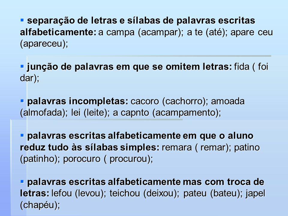 separação de letras e sílabas de palavras escritas alfabeticamente: a campa (acampar); a te (até); apare ceu (apareceu);