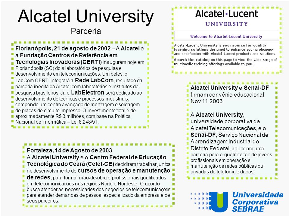 Alcatel University Parceria