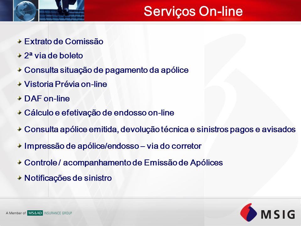Serviços On-line Extrato de Comissão 2ª via de boleto