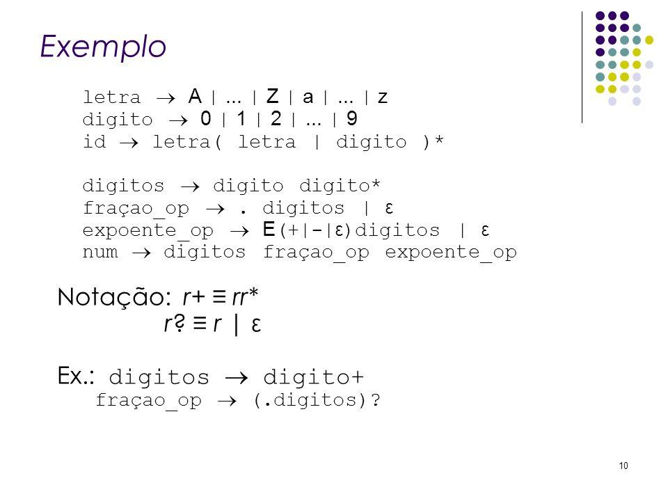 Exemplo Notação: r+ ≡ rr* r ≡ r | ε Ex.: digitos  digito+