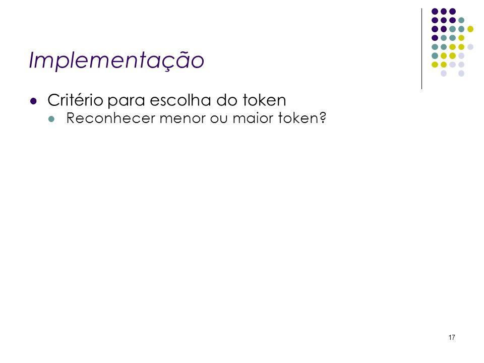 Implementação Critério para escolha do token