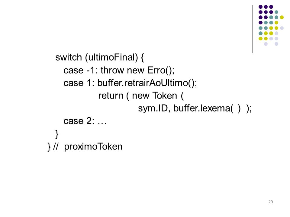 switch (ultimoFinal) { case -1: throw new Erro();