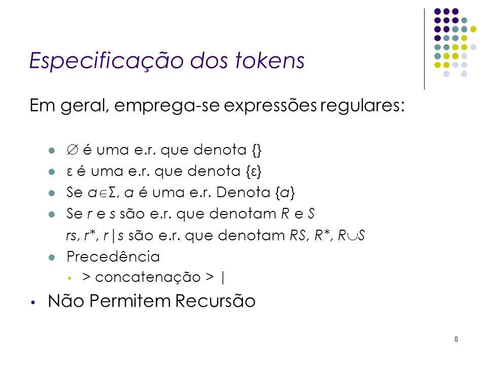 Especificação dos tokens