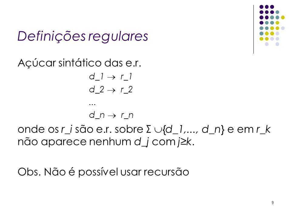 Definições regulares Açúcar sintático das e.r.