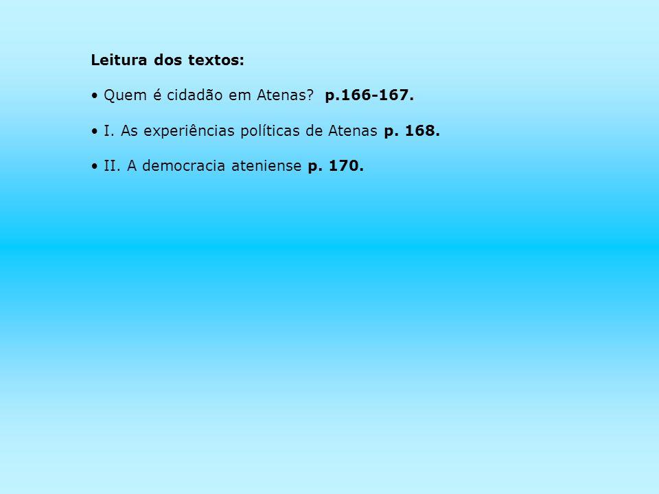 Leitura dos textos: Quem é cidadão em Atenas p.166-167. I. As experiências políticas de Atenas p. 168.