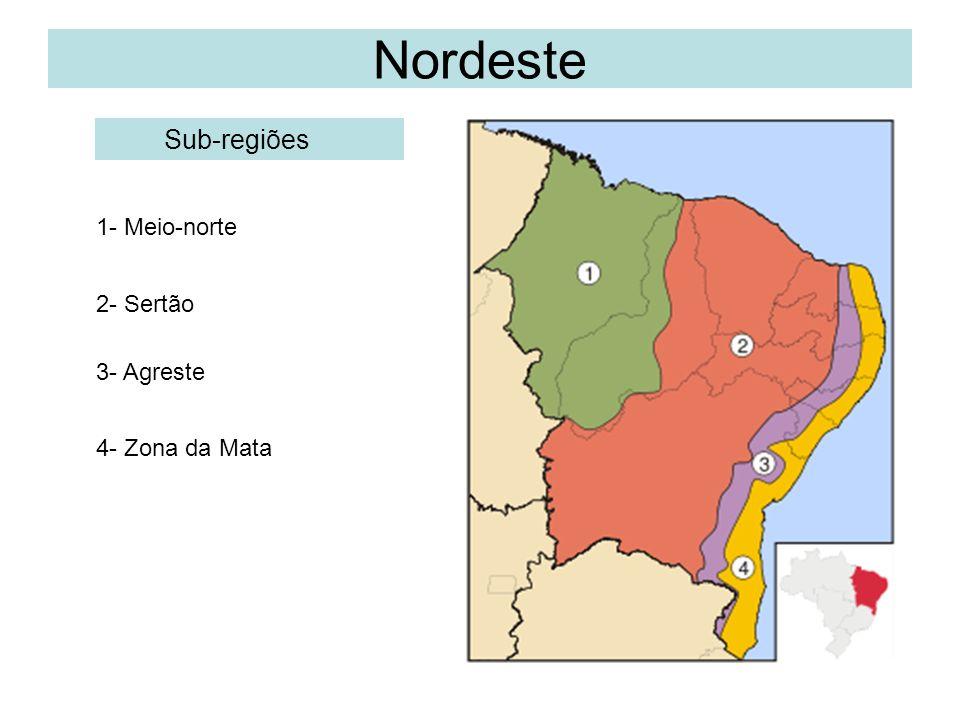 Nordeste Sub-regiões 1- Meio-norte 2- Sertão 3- Agreste