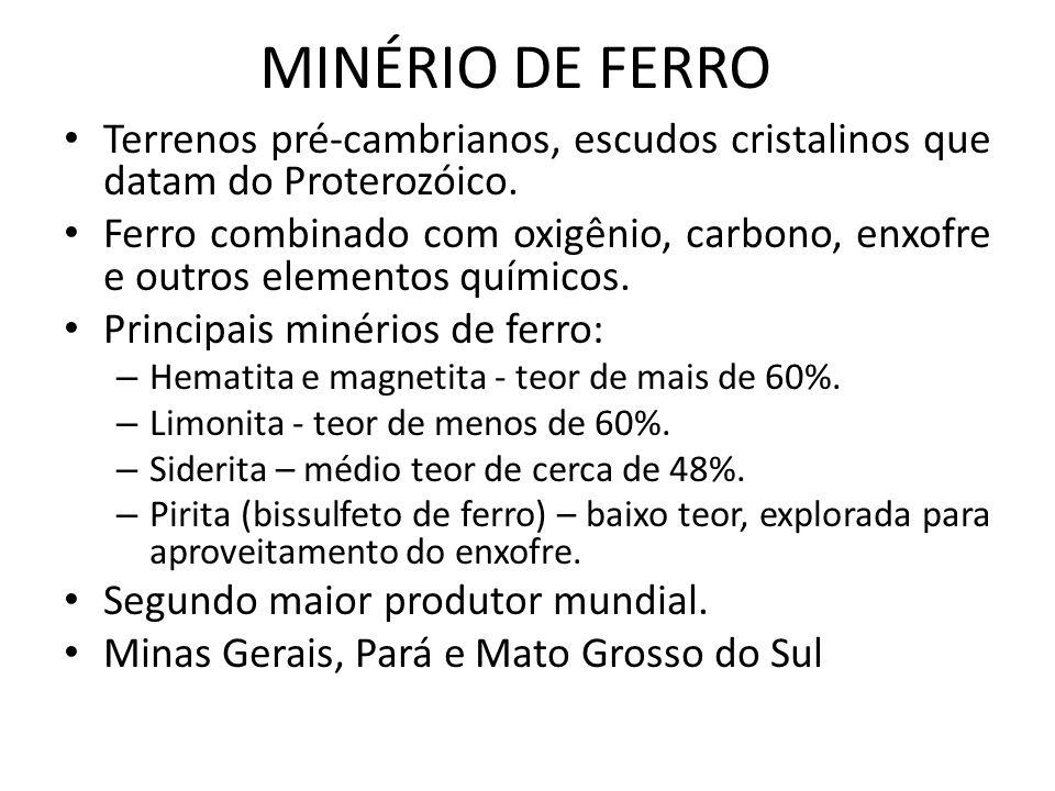 MINÉRIO DE FERRO Terrenos pré-cambrianos, escudos cristalinos que datam do Proterozóico.