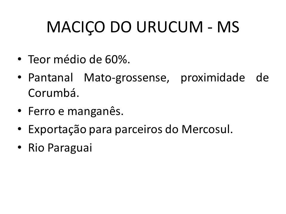 MACIÇO DO URUCUM - MS Teor médio de 60%.