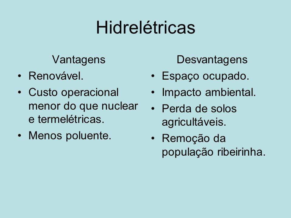 Hidrelétricas Vantagens Renovável.