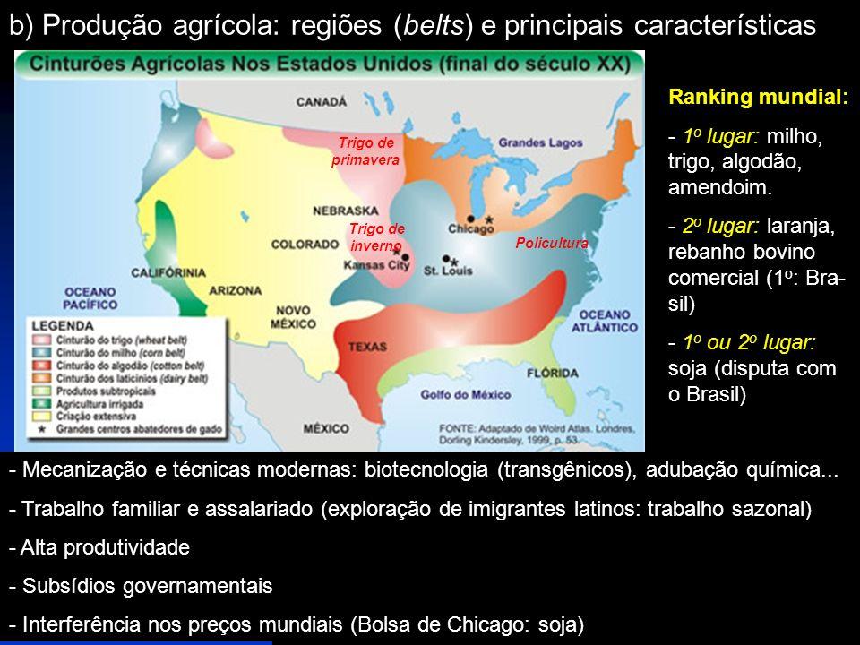 b) Produção agrícola: regiões (belts) e principais características