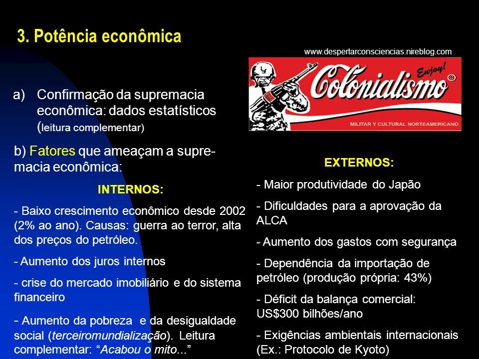 3. Potência econômica www.despertarconsciencias.nireblog.com. Confirmação da supremacia econômica: dados estatísticos (leitura complementar)