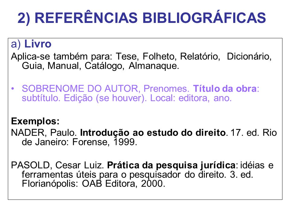 2) REFERÊNCIAS BIBLIOGRÁFICAS