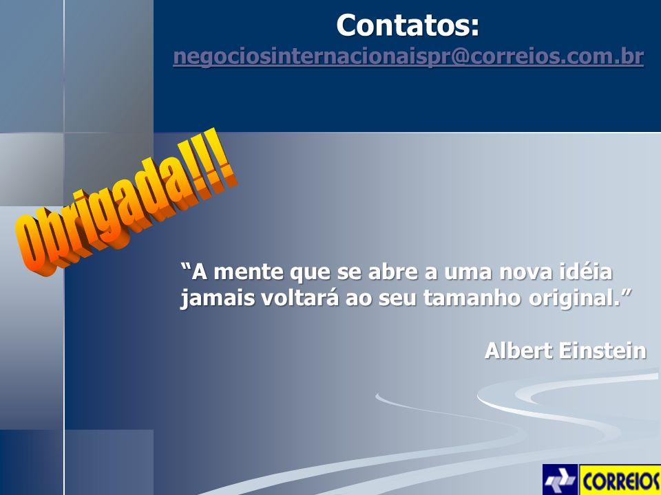 Contatos: Obrigada!!! negociosinternacionaispr@correios.com.br