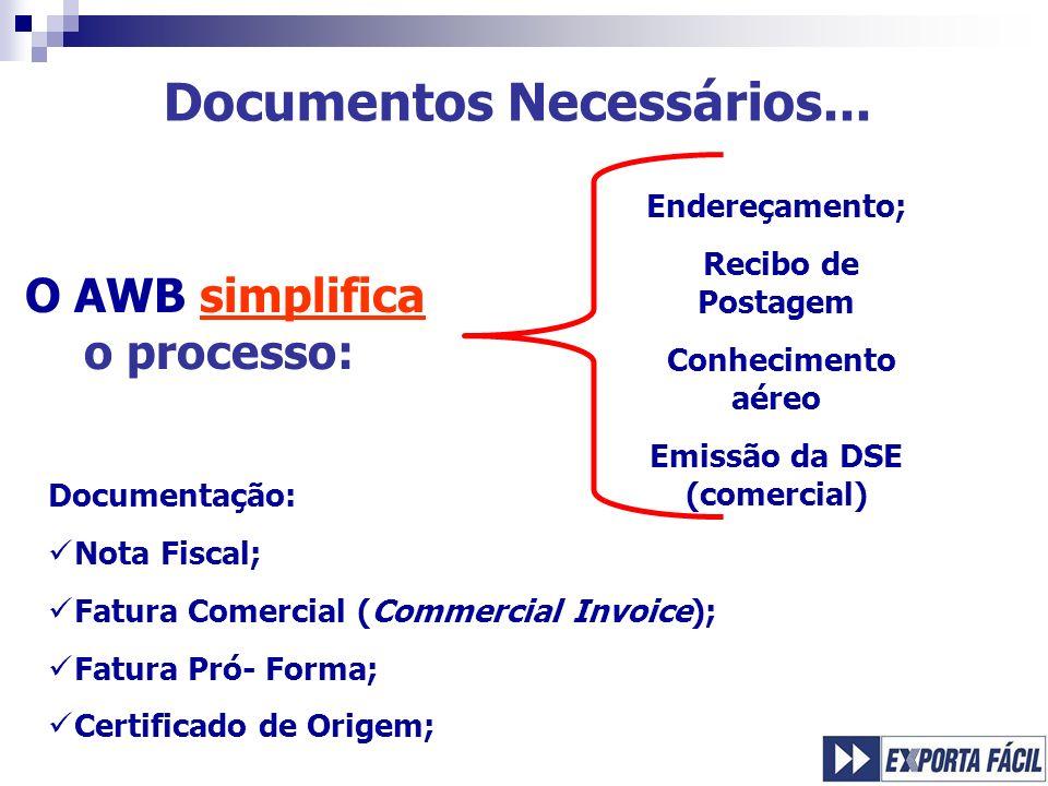 Emissão da DSE (comercial) O AWB simplifica o processo: