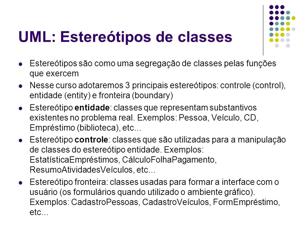 UML: Estereótipos de classes