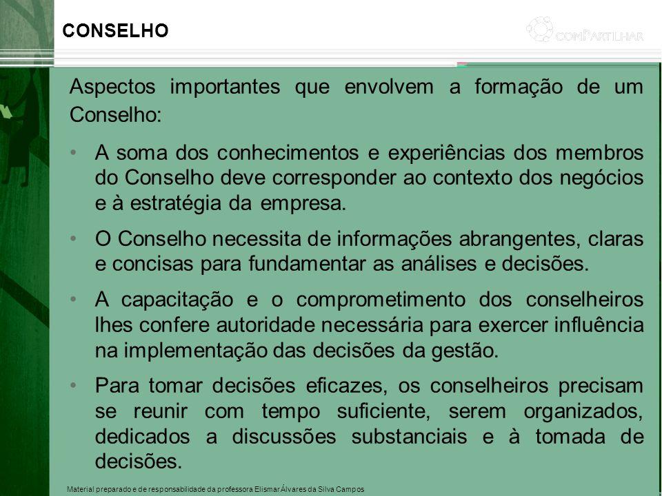 Aspectos importantes que envolvem a formação de um Conselho: