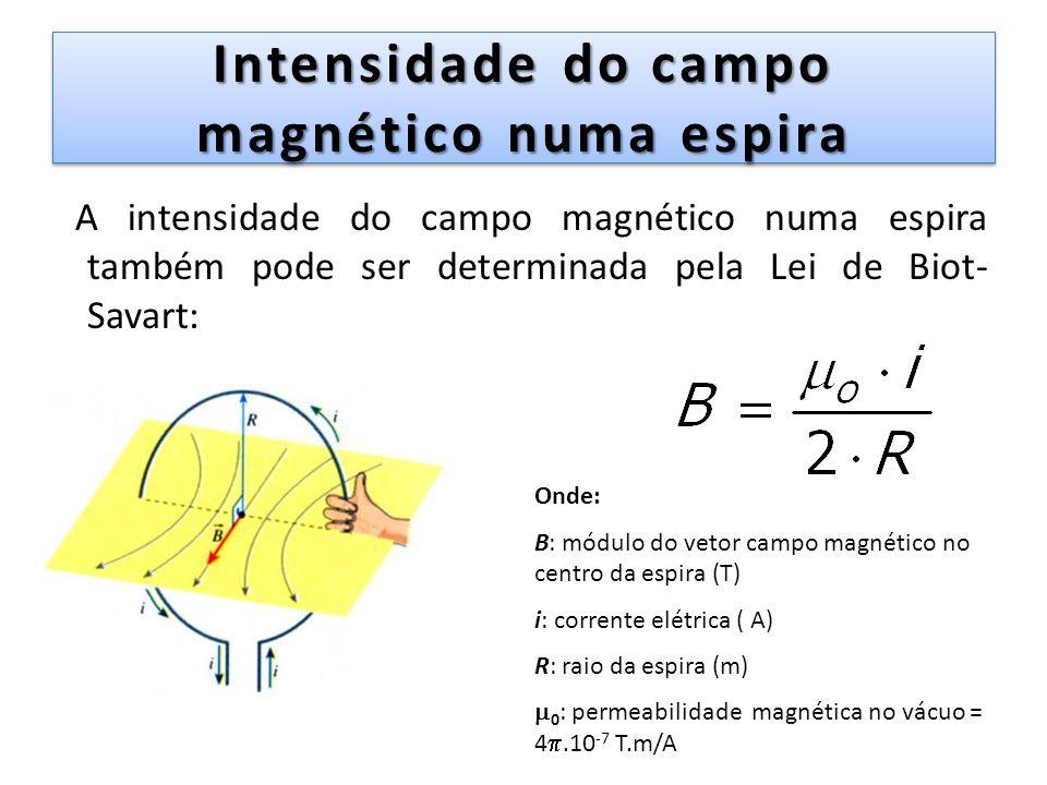 Intensidade do campo magnético numa espira