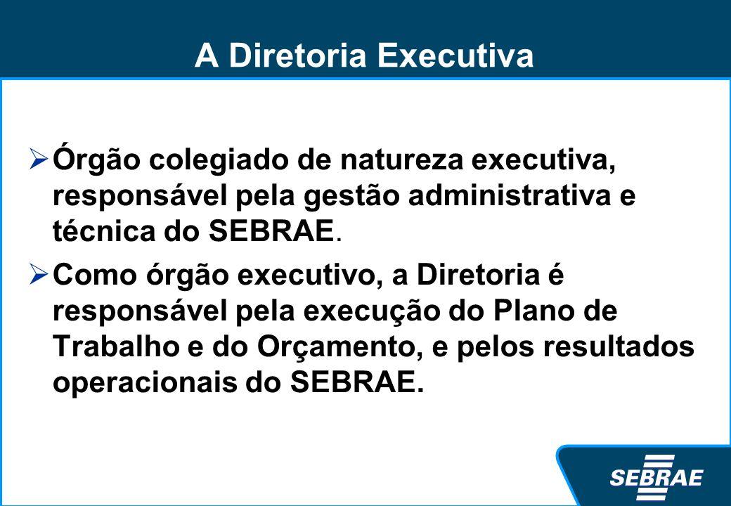 A Diretoria Executiva Órgão colegiado de natureza executiva, responsável pela gestão administrativa e técnica do SEBRAE.