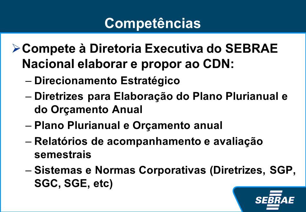 Competências Compete à Diretoria Executiva do SEBRAE Nacional elaborar e propor ao CDN: Direcionamento Estratégico.