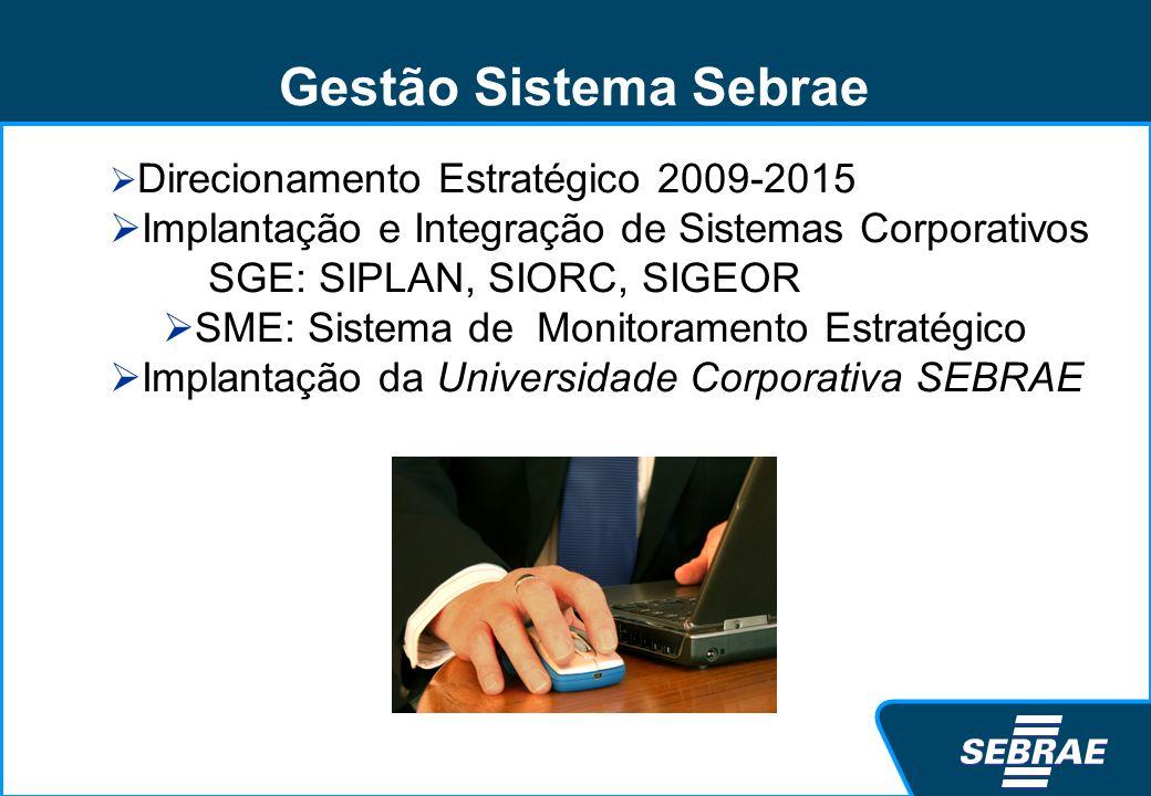 Gestão Sistema Sebrae Direcionamento Estratégico 2009-2015. Implantação e Integração de Sistemas Corporativos.