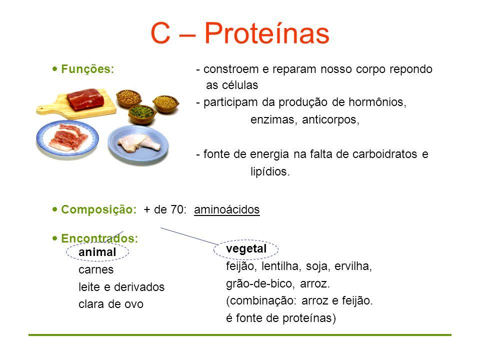 C – Proteínas Funções: - constroem e reparam nosso corpo repondo