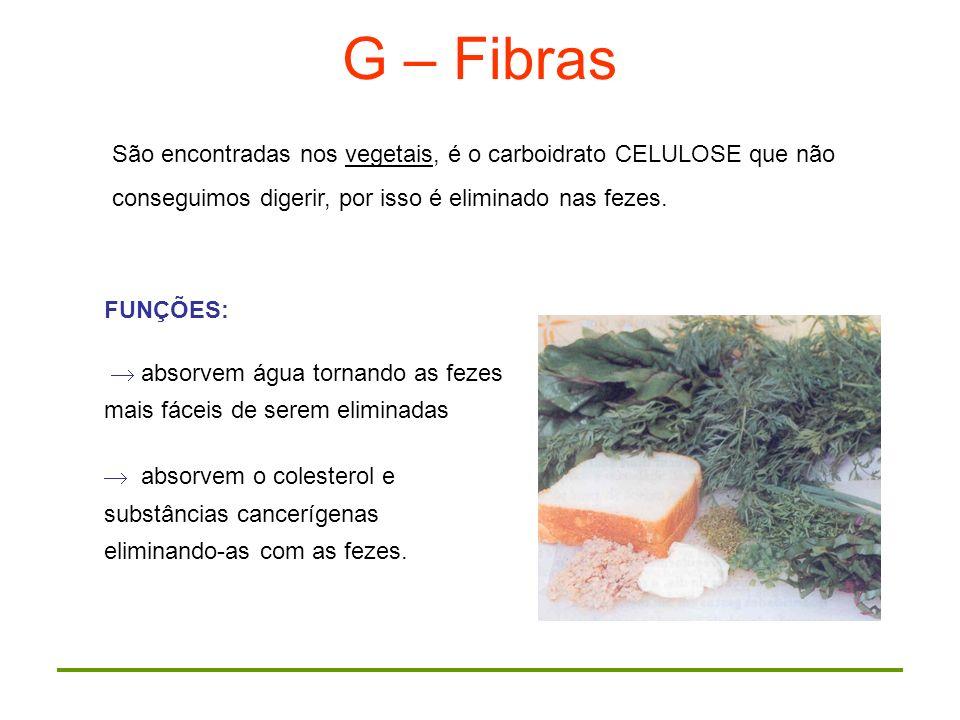 G – FibrasSão encontradas nos vegetais, é o carboidrato CELULOSE que não conseguimos digerir, por isso é eliminado nas fezes.