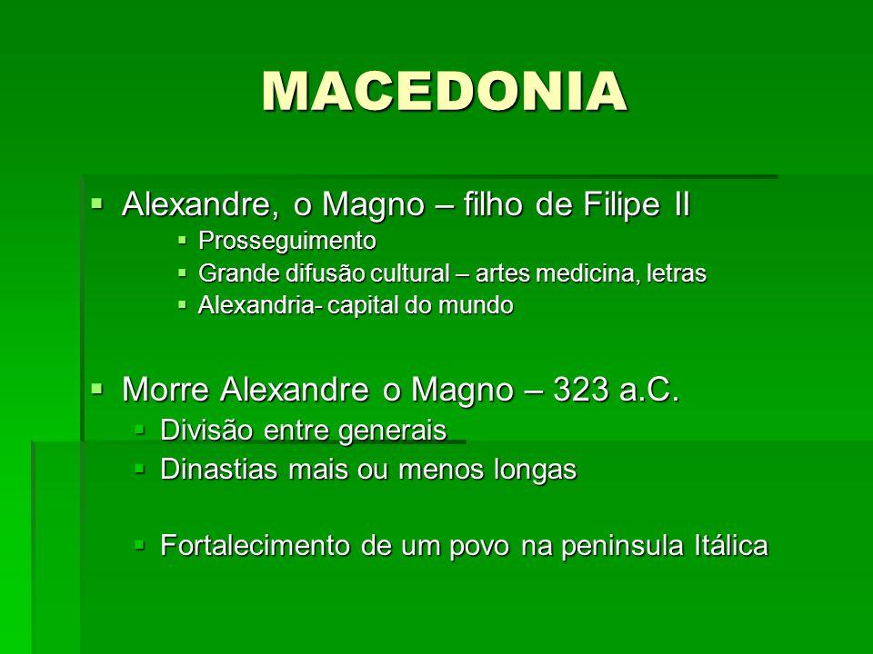 MACEDONIA Alexandre, o Magno – filho de Filipe II