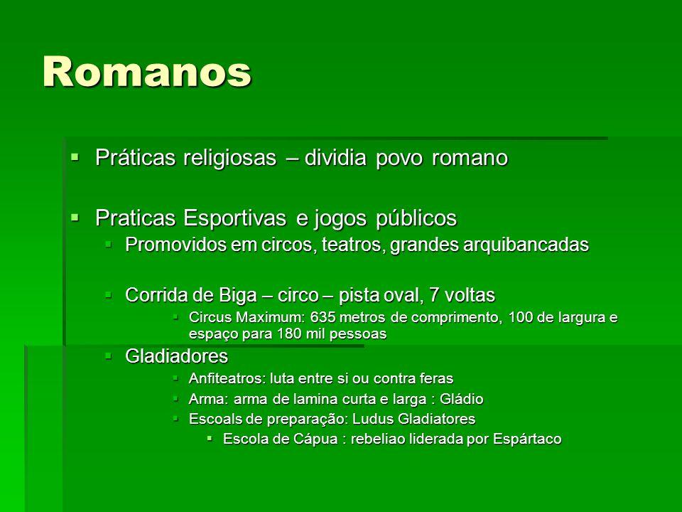 Romanos Práticas religiosas – dividia povo romano