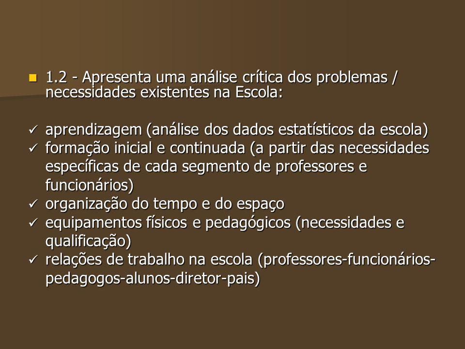 1.2 - Apresenta uma análise crítica dos problemas / necessidades existentes na Escola: