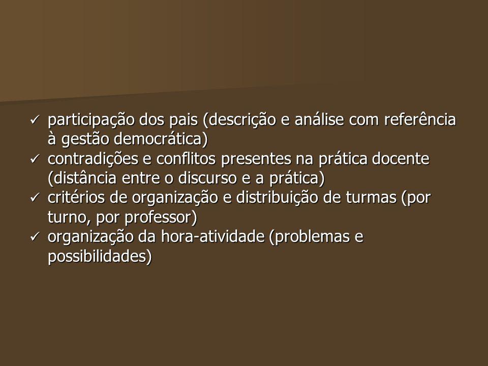participação dos pais (descrição e análise com referência à gestão democrática)