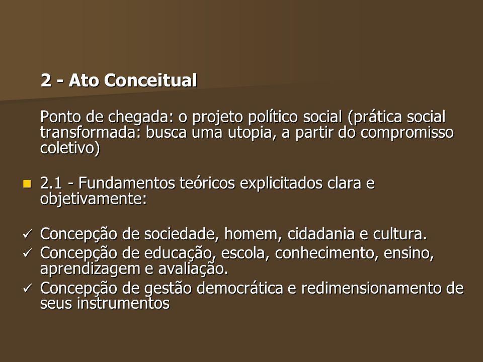 2 - Ato Conceitual Ponto de chegada: o projeto político social (prática social transformada: busca uma utopia, a partir do compromisso coletivo)