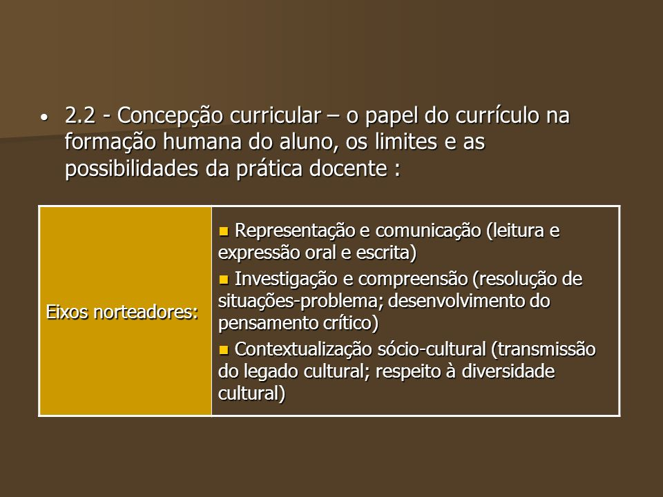 2.2 - Concepção curricular – o papel do currículo na formação humana do aluno, os limites e as possibilidades da prática docente :