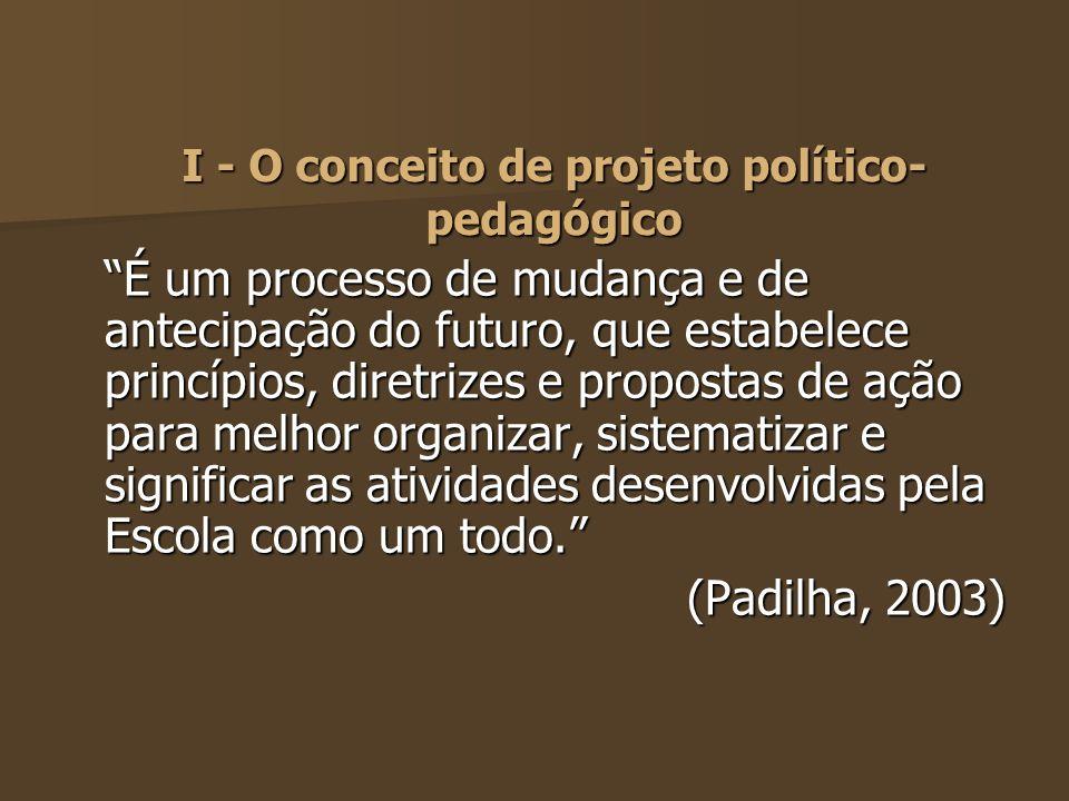 I - O conceito de projeto político-pedagógico