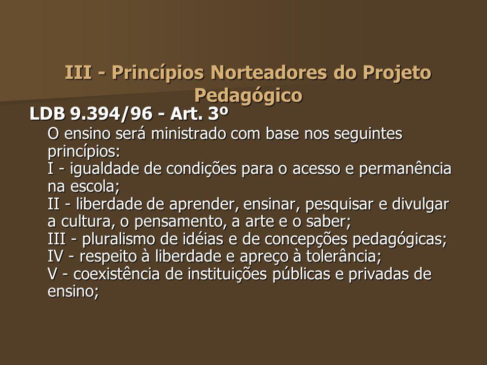 III - Princípios Norteadores do Projeto Pedagógico