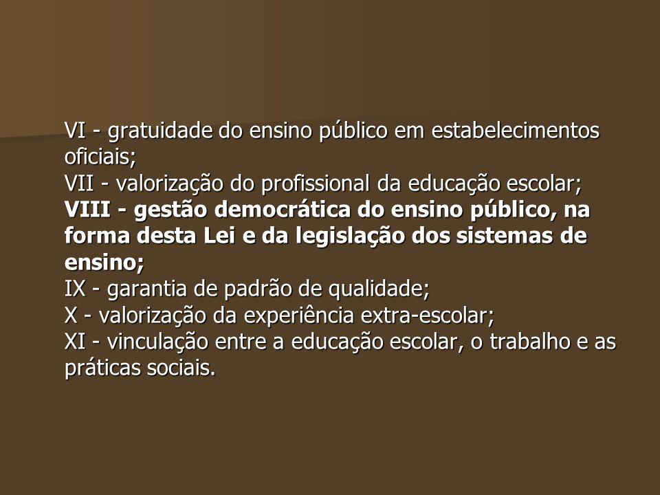 VI - gratuidade do ensino público em estabelecimentos oficiais;