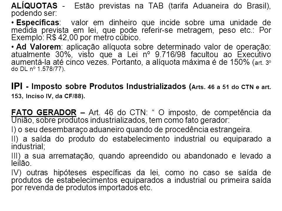 ALÍQUOTAS - Estão previstas na TAB (tarifa Aduaneira do Brasil), podendo ser: