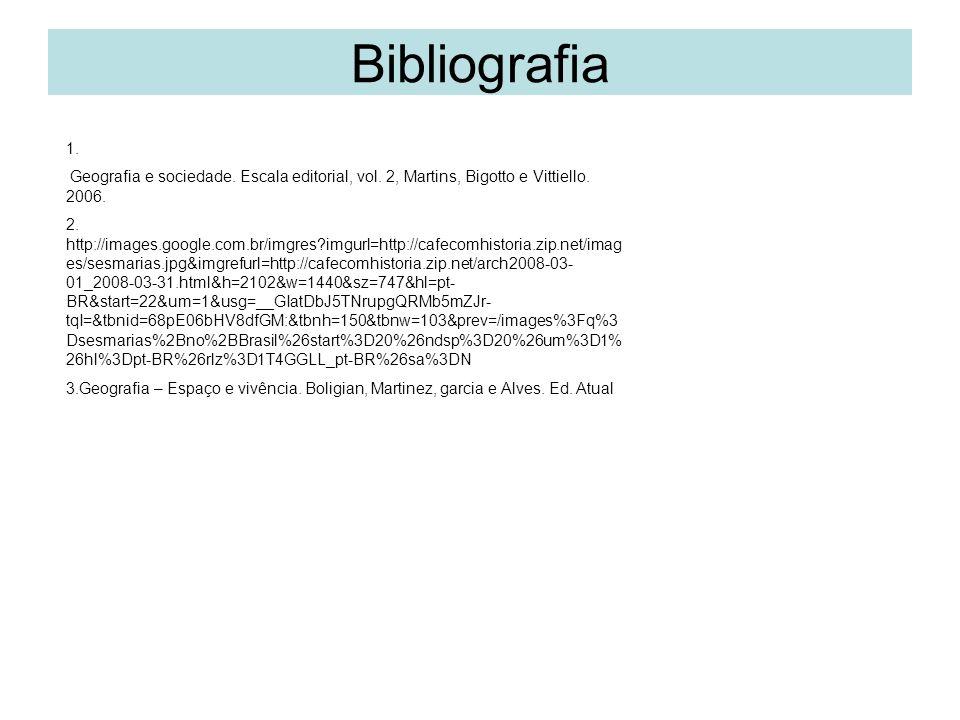 Bibliografia 1. Geografia e sociedade. Escala editorial, vol. 2, Martins, Bigotto e Vittiello. 2006.