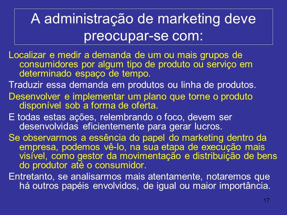 A administração de marketing deve preocupar-se com: