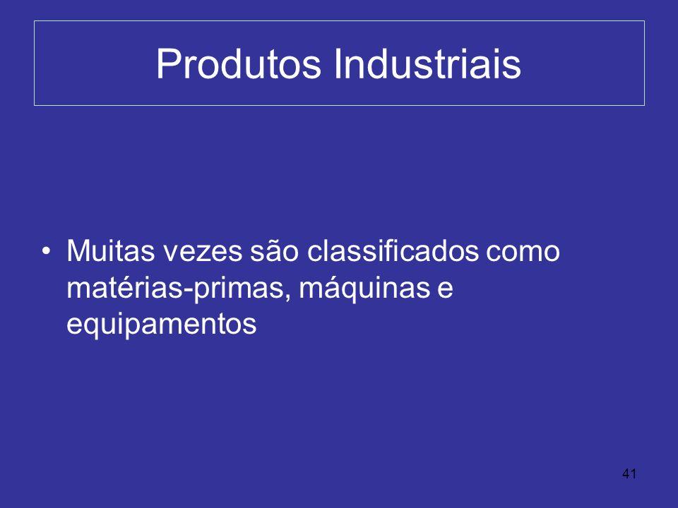 Produtos Industriais Muitas vezes são classificados como matérias-primas, máquinas e equipamentos