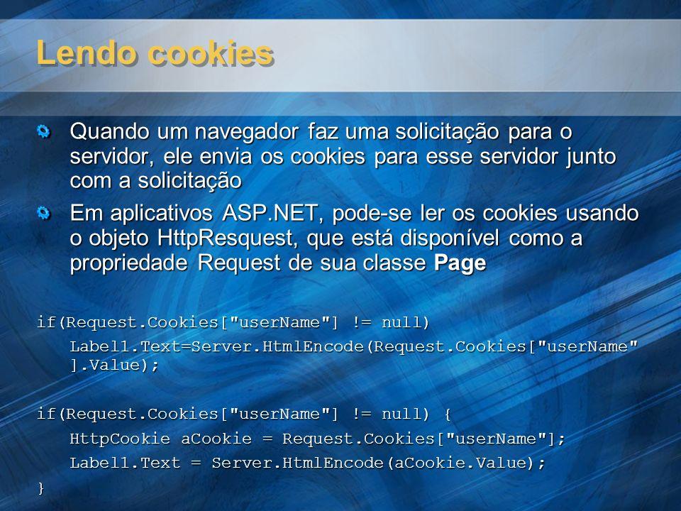 Lendo cookies Quando um navegador faz uma solicitação para o servidor, ele envia os cookies para esse servidor junto com a solicitação.