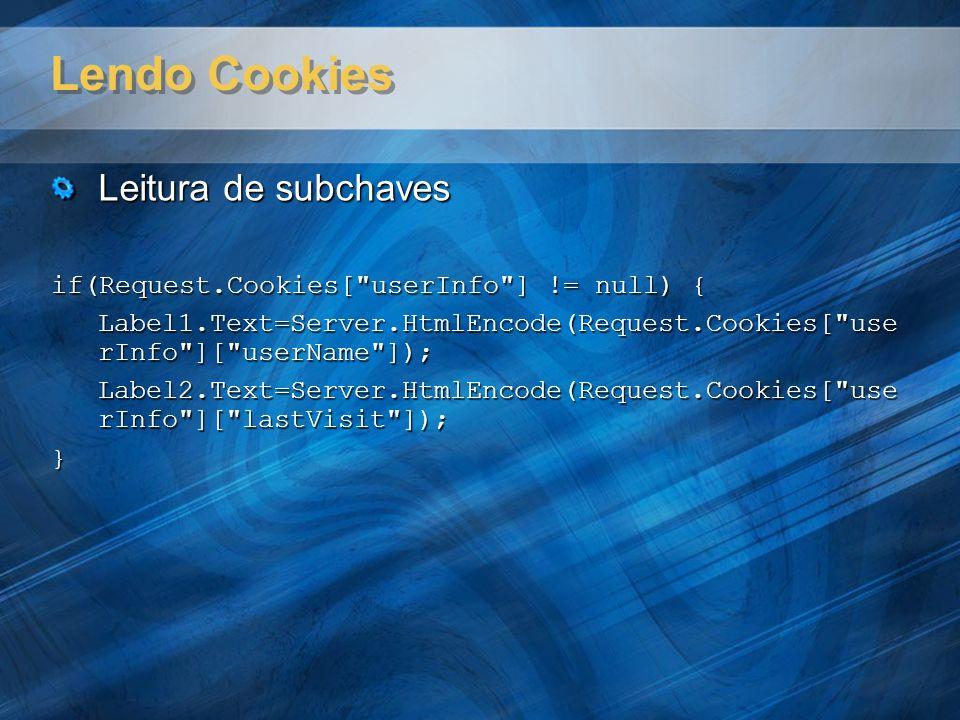 Lendo Cookies Leitura de subchaves