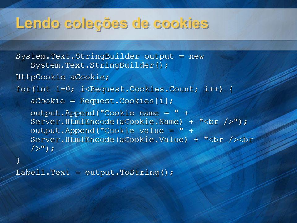 Lendo coleções de cookies