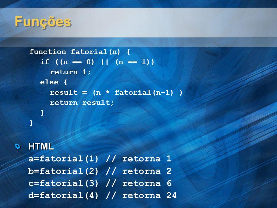 Funções HTML a=fatorial(1) // retorna 1 b=fatorial(2) // retorna 2
