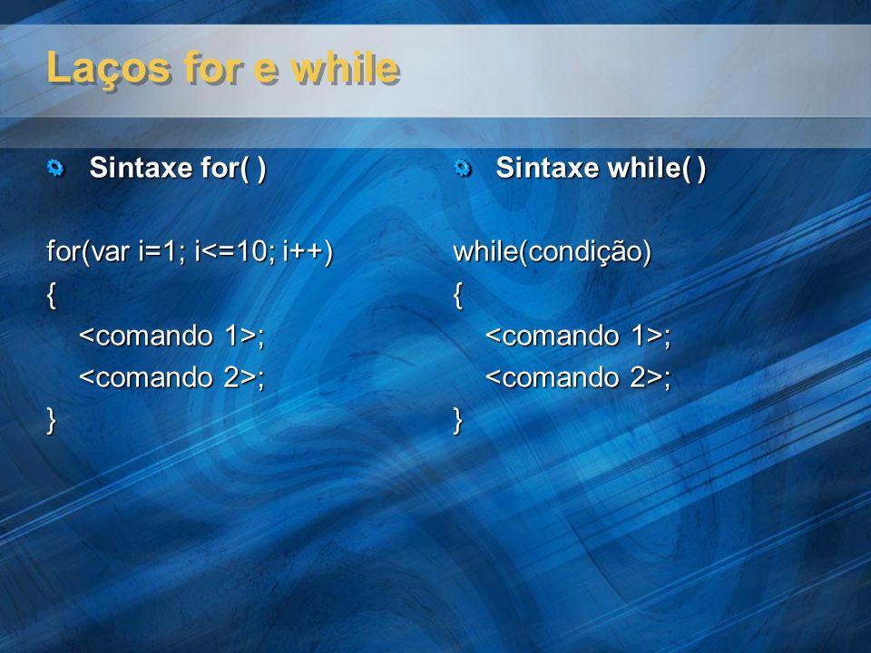Laços for e while Sintaxe for( ) for(var i=1; i<=10; i++) {