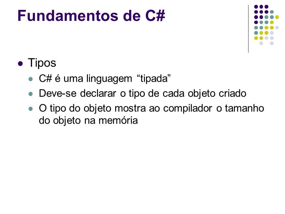 Fundamentos de C# Tipos C# é uma linguagem tipada