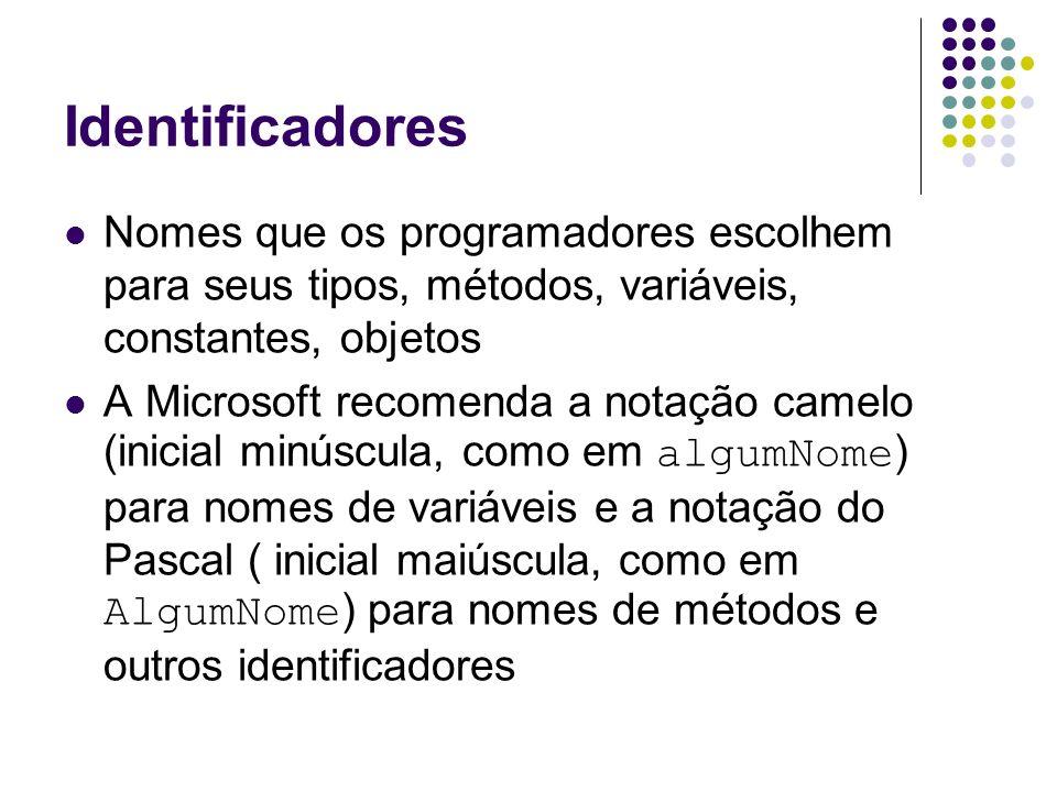 IdentificadoresNomes que os programadores escolhem para seus tipos, métodos, variáveis, constantes, objetos.