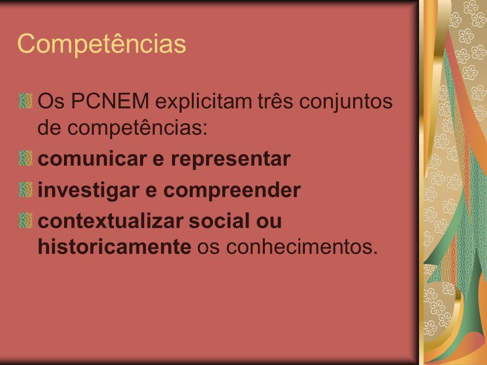 Competências Os PCNEM explicitam três conjuntos de competências: